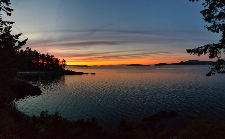 Sunset, from the composer's home on San Juan Island, WA.