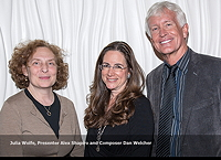 Composers Julia Wolfe and Dan Welcher flanking Alex at the ASCAP Concert Awards in NYC, May 21, 2015.