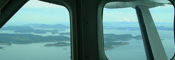 San Juan Islands and Mt. Baker from puddle jumper